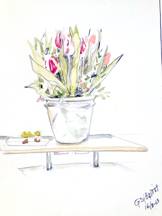Göte Sjöqvist, akvarell - tulpaner